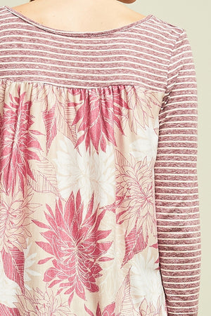 Carolyn:  Plum Stripe Floral Back Pocket Top by Entro