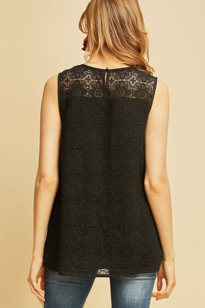 Abby: Floral Embroidered Black Sleeveless Top by Entro