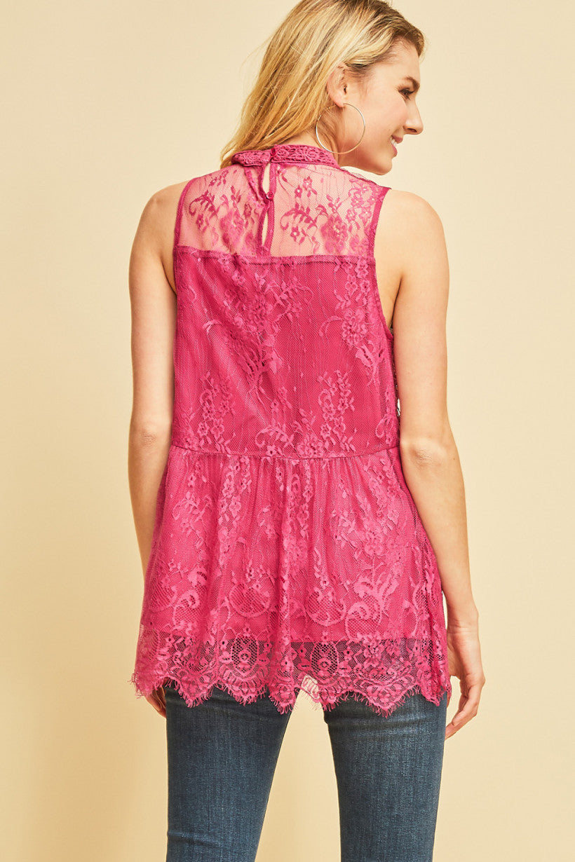 Kimberly: Berry Lace Scalloped Hem Sleeveless Top
