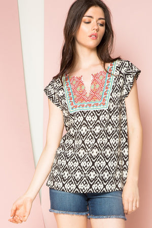 Brandi: Embroidered Print Short Sleeve Top by THML (Premier Brand)