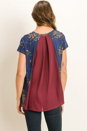 Lisa:  Floral Print Maroon Back Short Sleeve Top by Gilli