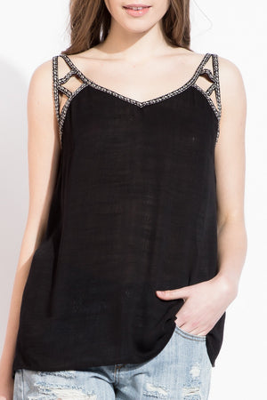 Chloe: Detailed Embroidery Neck Black Tank by THML (Premier Brand)