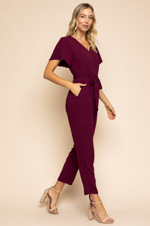 Natalie:  Maroon Short Sleeve Jumpsuit by Gilli