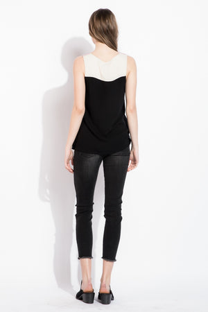 Nicole:  Embroidered Black Sleeveless Top by THML (Premier Brand)