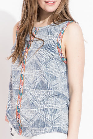 Stephanie:  Blue Embroidered Print Sleeveless Top by THML (Premier Brand)
