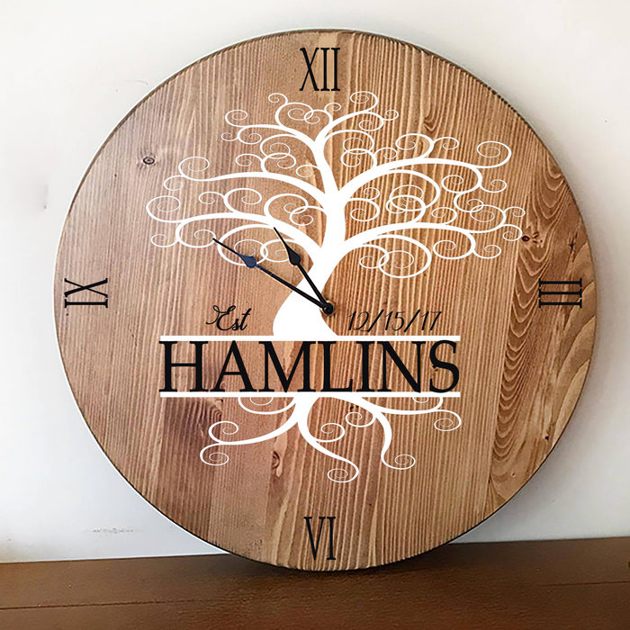Oversized Wall Clock with Personalized Family Name - Lola's Design Loft