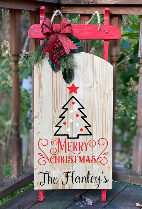 Wooden Christmas Sled - Merry Christmas Sled