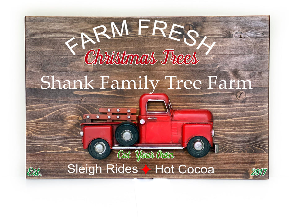 Farm Fresh Christmas Tree Sign - Wood and Metal Sign - Personalized - Christmas Decor