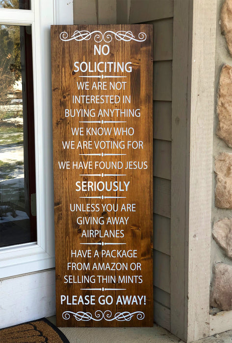 No Soliciting Sign - Funny Welcome Sign for Front Porch