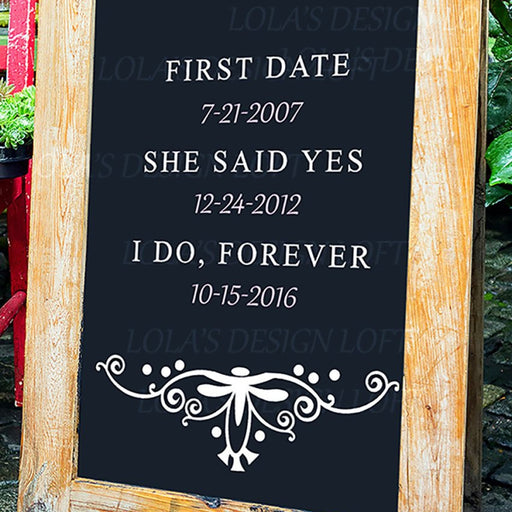 Rustic Wedding Sign - First Date - Lola's Design Loft