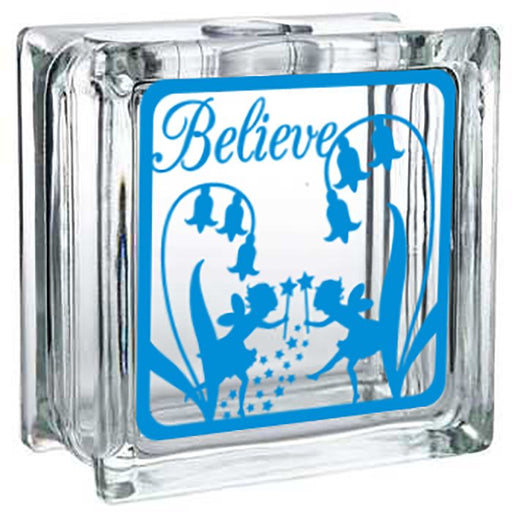 Glass Block Decor - Lighted Fairy - Believe - Lola's Design Loft