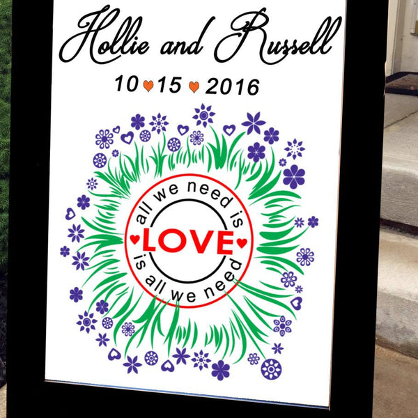 Wedding Welcome Sign - All We Need is Love