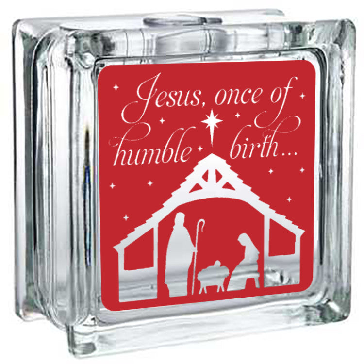 Lighted Christmas Glass Block Decor - Jesus Humble Birth