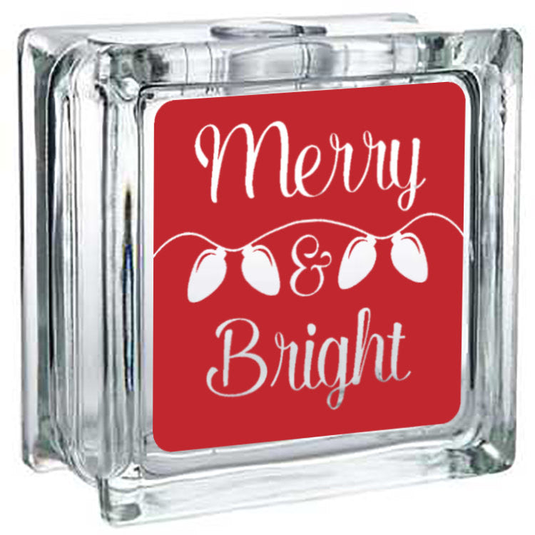 Christmas Decoration - Lighted Glass Block Decor - Merry & Bright