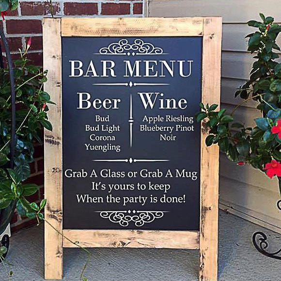 Wedding Bar Menu - Wedding Drink Menu Sign
