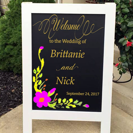Wedding Welcome Sign  - Large with Gold Foil - Lola's Design Loft