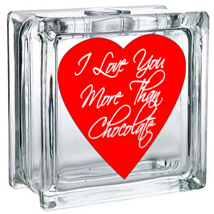 Valentine's Day, Valentine's Day Gift, Gift for, Glass Block Light, Valentines Day, I Love You, Chocolate Lovers - Lola's Design Loft