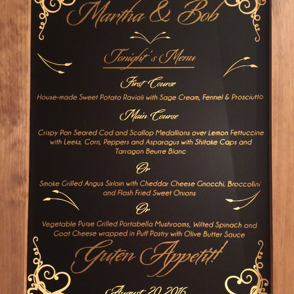 Wedding Menu - Large Sign w/Gold Foil