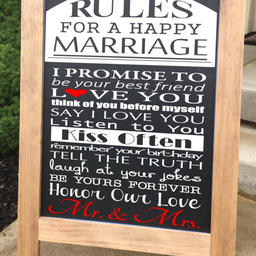 Rules For A Happy Marriage Sign - Lola's Design Loft