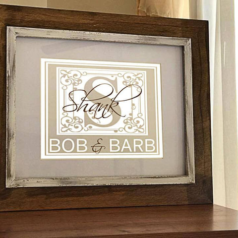 Family Monogram Frame - Family Name Sign