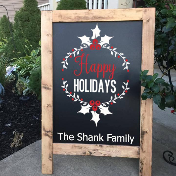 Christmas Decor - Christmas Chalkboard - Outdoor Decor - Happy Holidays - Standing Sign - Large - Lola's Design Loft