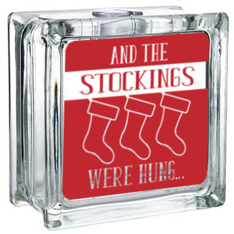 Lighted Christmas Glass Block Decor - And the Stockings...