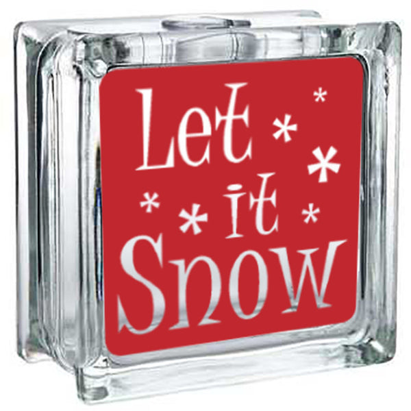 Lighted Christmas Glass Block Decor - Let it Snow