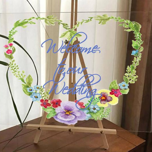 Wedding Sign, Wedding Decor, Acrylic Sign, Rustic Wedding, Wedding Welcome Sign - Lola's Design Loft