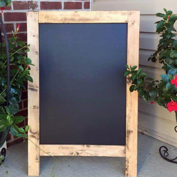 Sidewalk Sign - Includes Custom Graphics! -  Sandwich Sign - Business Sign - Wedding Sign - Rustic Chalkboard - A-Frame Sign - Double Sided - Lola's Design Loft