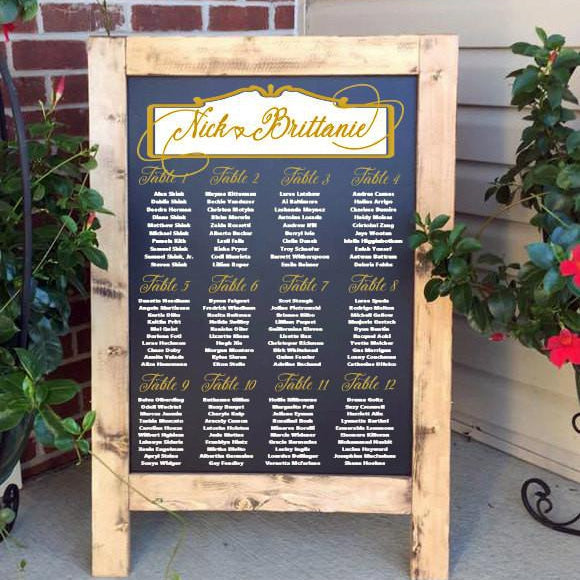 Wedding Seating Chart - Wedding Seating Plan with Gold Foil - Lola's Design Loft