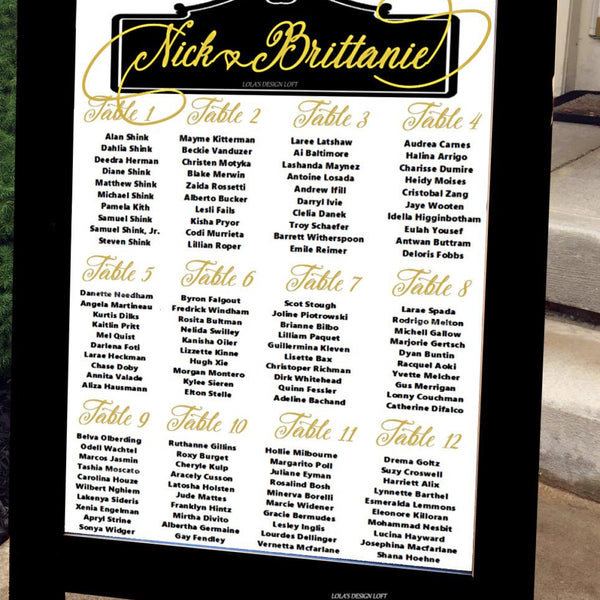 Wedding Seating Chart - Wedding Seating Plan with Gold Foil