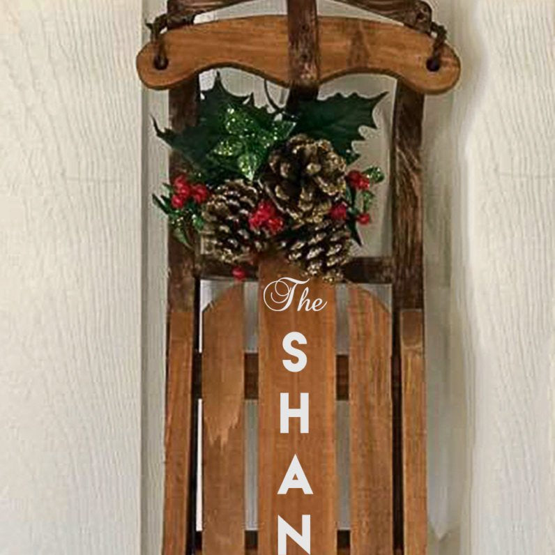 family name christmas sled wood sled christmas decoration personalized home decor