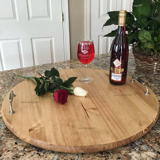 Serving Trays - Personalized Serving Tray - Lazy Susan - Wood Tray - Wood Serving Tray with Handles  - Wood Lazy Susan - Wedding Gift - Lola's Design Loft