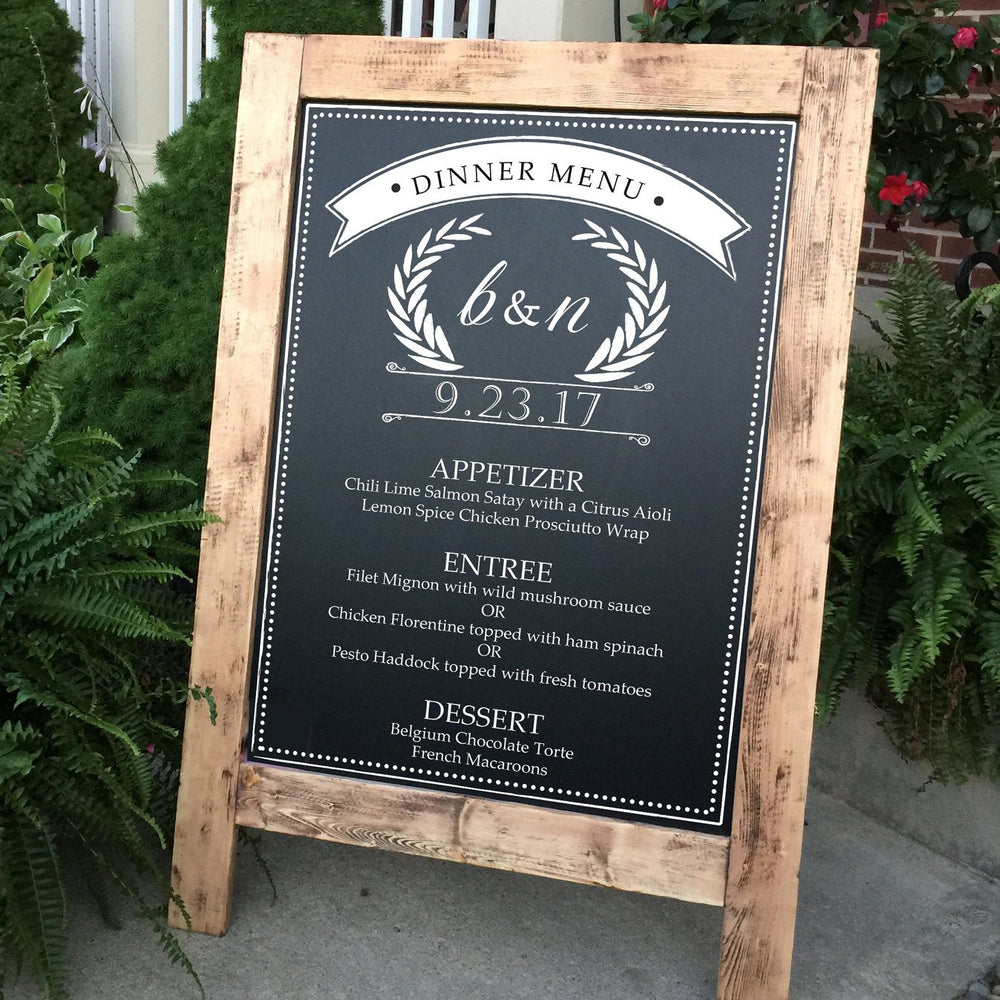 Custom Wedding Menu Sign - Custom Menu Sign - Wedding Menu Sign -  Rustic Wedding Sign - Chalkboard Sign - Large -  Standing A-Frame - Lola's Design Loft