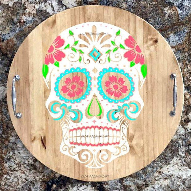 Wood Lazy Susan, Serving Tray, Rustic Wood Serving Tray, Wood Serving Tray,  Sugar Skull,  Personalized Serving Tray, Halloween - Lola's Design Loft