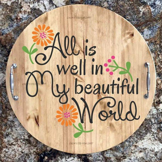 Personalized Serving Tray, Lazy Susan, Mothers Day Gift, Serving Tray, Wood Serving Tray with Handles, Wood Lazy Susan, Wedding Gift - Lola's Design Loft