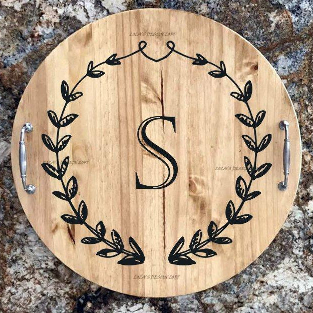 Personalized Serving Tray, Lazy Susan, Thanksgiving, Serving Tray, Wood Serving Tray with Handles, Wood Lazy Susan, Wedding Gift, Gift for - Lola's Design Loft