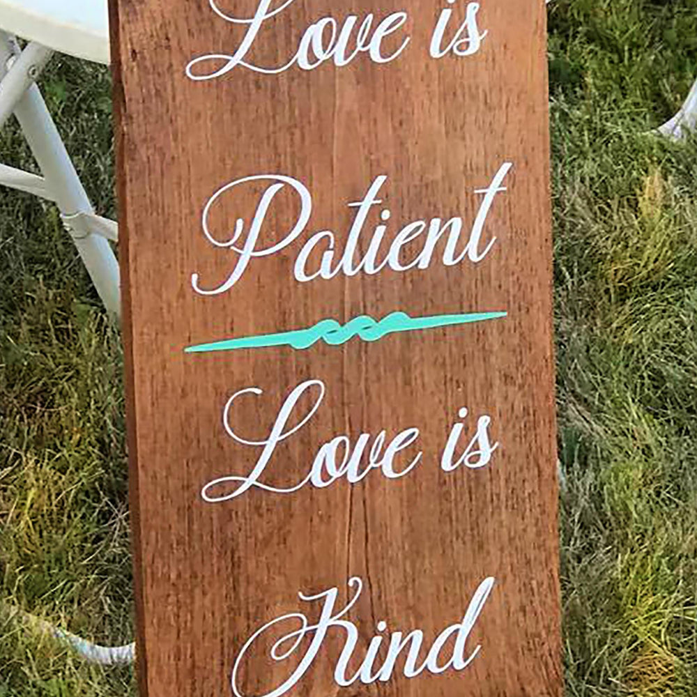 Love is Patient Aisle Signs, Set of 10, Love is Patient Signs, Corinthian Wedding Signs, Corinthians Aisle Signs, Love Is Wedding Decor - Lola's Design Loft