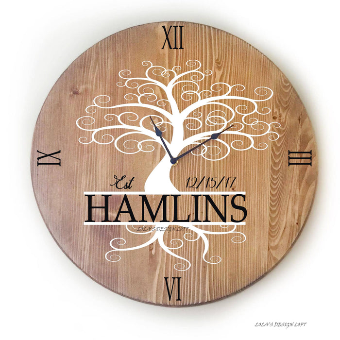 "Oversized Wall Clock, Large 18"" Wall Clock, Rustic Wall Clock, Wood Wall Clock, Rustic Clock, Personalized Wall Clock, Farmhouse Clock - Lola's Design Loft"