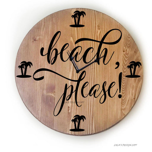 "Wall Clock, Large 18"" Wall Clock, Over Sized Clock, Unique Wall Clock, Rustic Wall Clock, Personalized Wall Clock, Gift For,  Beach Decor - Lola's Design Loft"