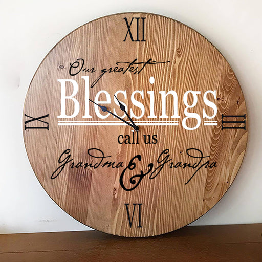 Wall Clock, Large Wall Clock, Oversized Clock, Unique Wall Clock, Rustic Wall Clock, Personalized Wall Clock, Grandparents Gift Clock - Lola's Design Loft