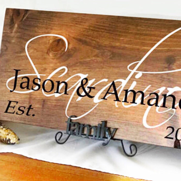 Family Name Sign, Custom Wood Signs, Fall Wedding Gift,  Wedding Established Sign, Rustic Wood Sign, Wedding Gift, Personalized Signs - Lola's Design Loft