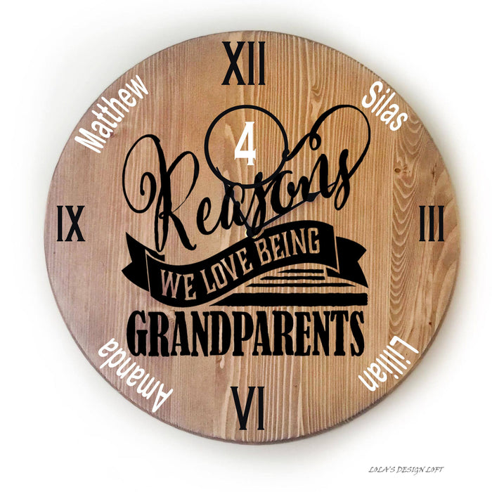 Grandparents Wall Clock - Personalized - Lola's Design Loft