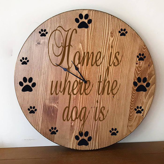 Wall Clock, Large Wall Clock, Oversized Clock, Unique Wall Clock, Rustic Wall Clock, Personalized Wall Clock, Dog Lovers Gift,  Wooden Clock - Lola's Design Loft