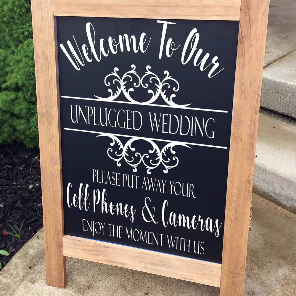Unplugged Wedding Sign, Wedding Sign, Unplugged Ceremony Sign, Rustic Wood Wedding Sign, No Camera Wedding Sign, Wedding Ceremony Decor - Lola's Design Loft