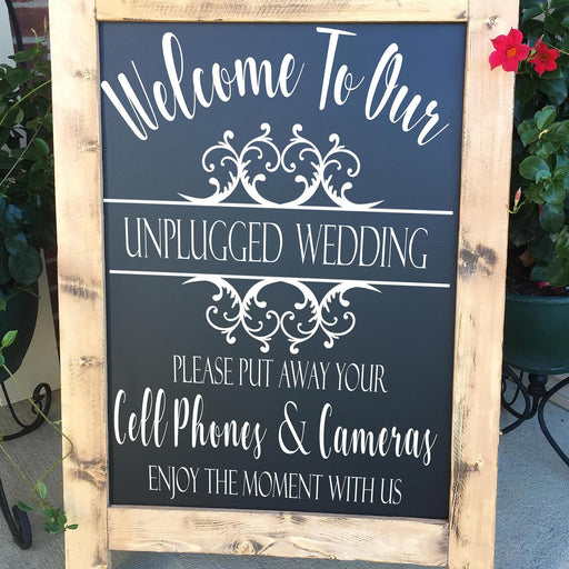 DECAL, Unplugged Wedding Decal, Unplugged Ceremony Decal, No Cameras Decal, No Cell Phone Decal, Unplugged Sign Decal, DECAL ONLY - Lola's Design Loft