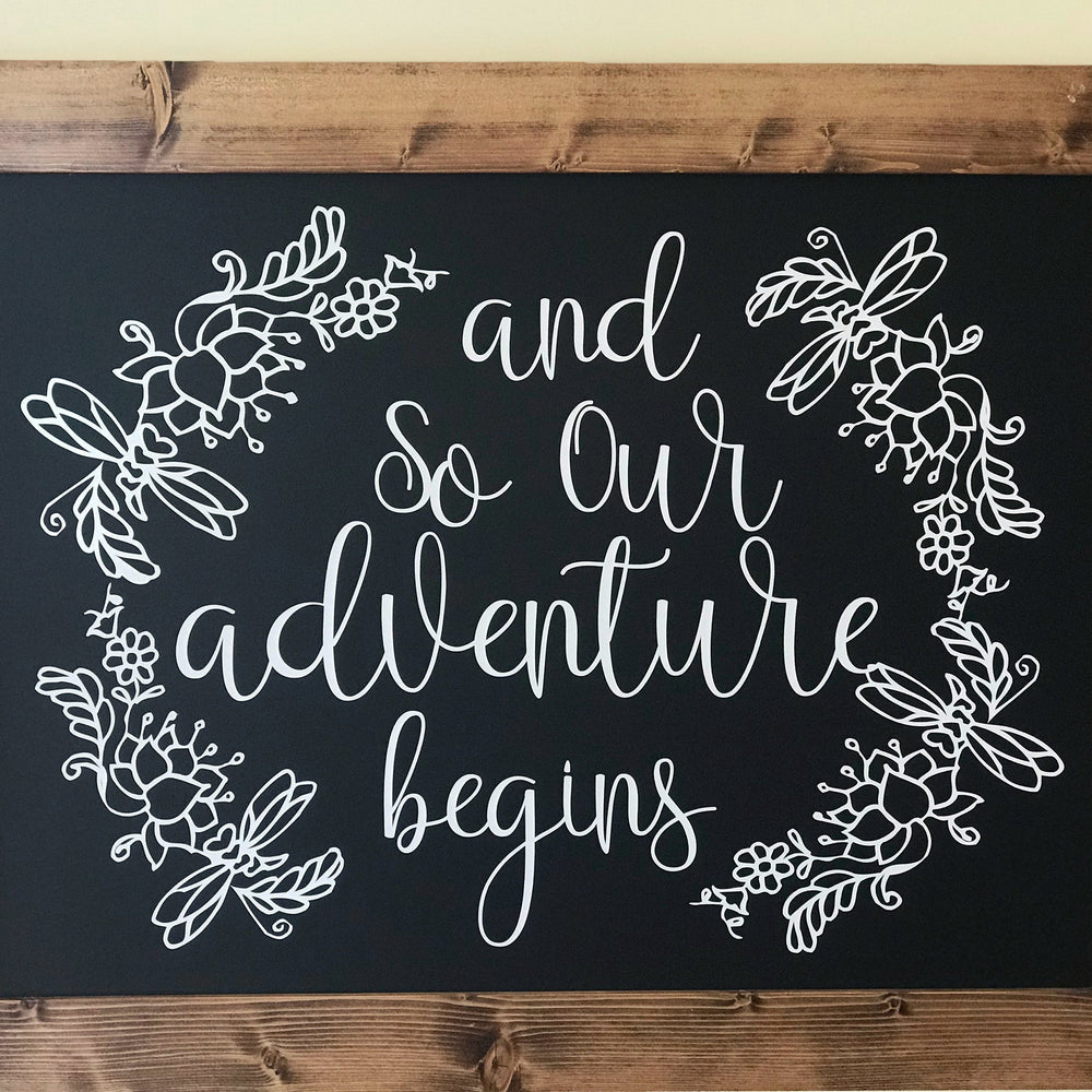 Wedding Sign, Wedding Chalkboard, Rustic Wedding, Adventure Begins, Wedding Decor, Rustic Chalkboard - Lola's Design Loft