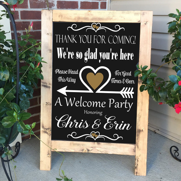 Welcome Sign, Wedding Welcome Sign, Party Here Sign, Rustic Wood Wedding Sign, No Camera Wedding Sign, Wedding Ceremony Decor, Wedding Sign - Lola's Design Loft