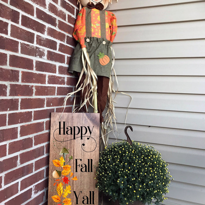 Fall Porch Decor, Happy Fall Y'all, Autumn Decor, Fall Decor, Thanksgiving Decor Ideas, Rustic Fall sign, Wood Fall Sign, Wall Decor - Lola's Design Loft