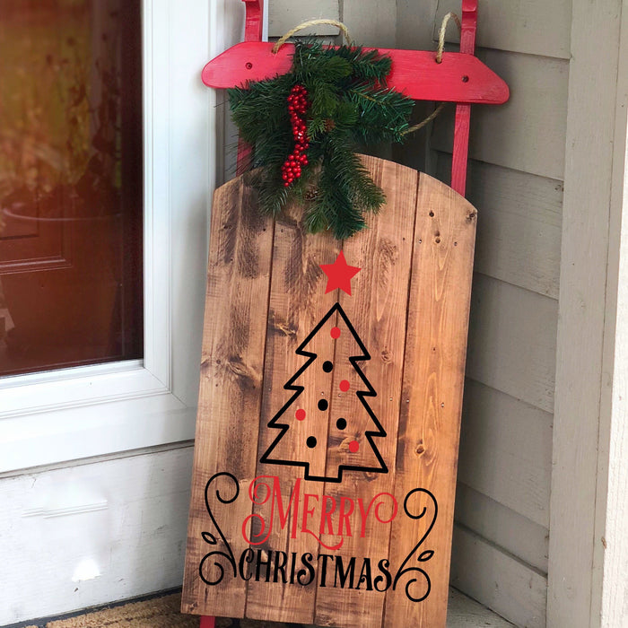 Wooden Sled Holiday Decor